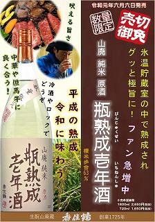 s-2019(R1)06 山廃純米原酒 瓶熟成壱年酒POP 価格あり